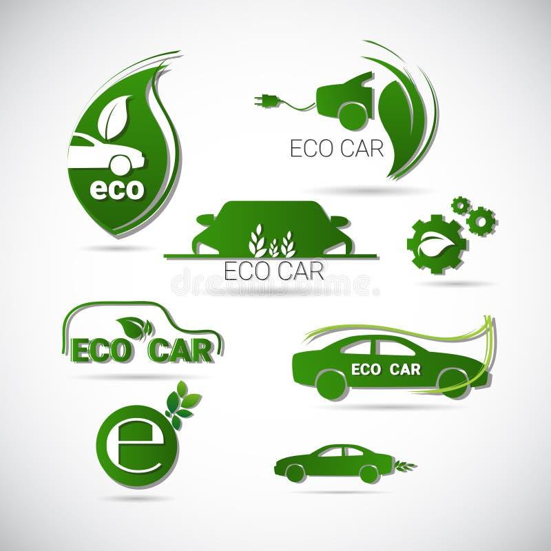Logotipo verde determinado del ambiente del coche eléctrico de Eco de la máquina del icono amistoso del web stock de ilustración
