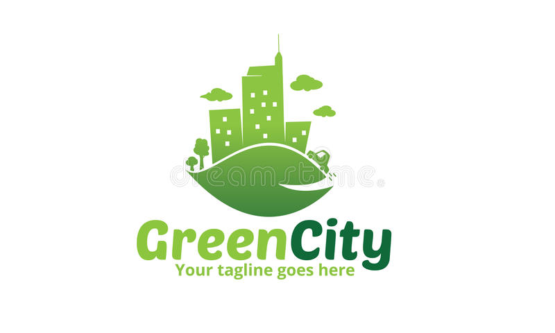 Logotipo verde do ícone da cidade ilustração do vetor