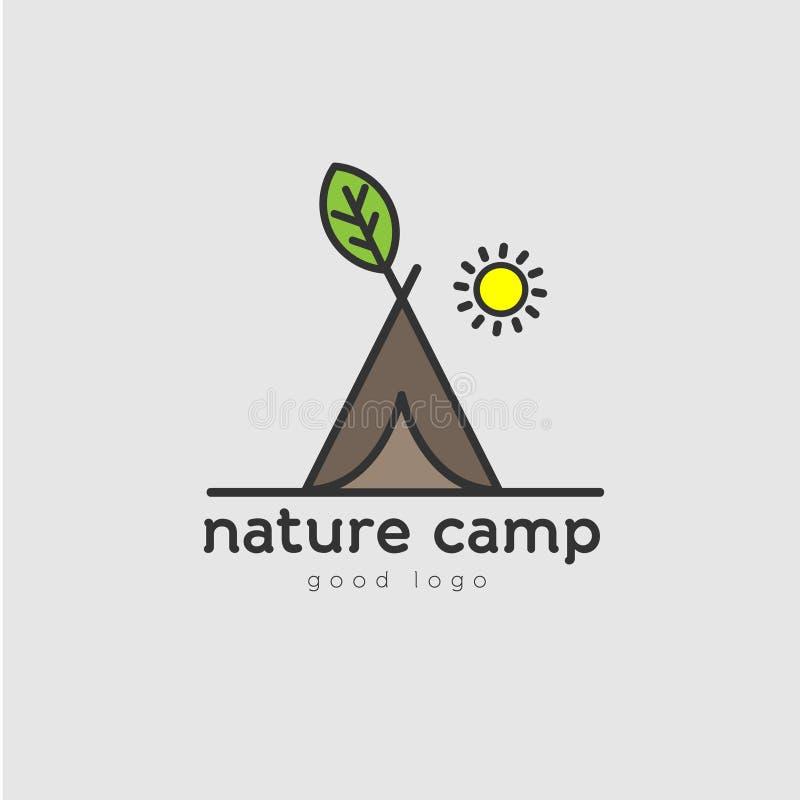 Logotipo verde do acampamento da natureza ilustração royalty free