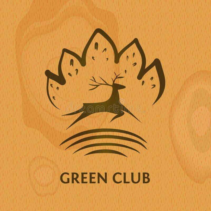 Logotipo verde do clube Mostre em silhueta cervos no fundo de madeira Conceito im ilustração stock