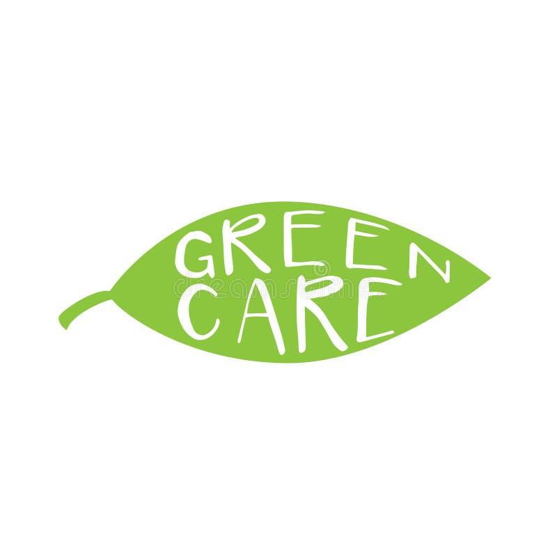 Logotipo verde do cuidado ilustração stock