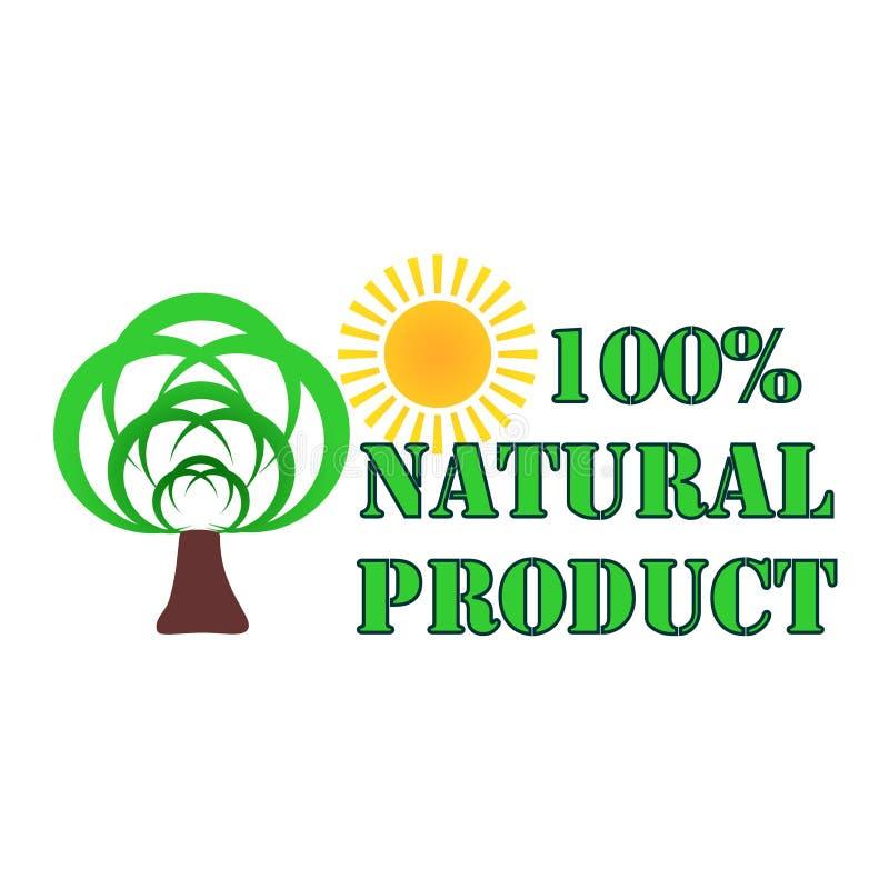 Logotipo verde do produto natural de Eco com árvores e sol em um fundo branco Projeto abstrato ambiental natural ilustração do vetor