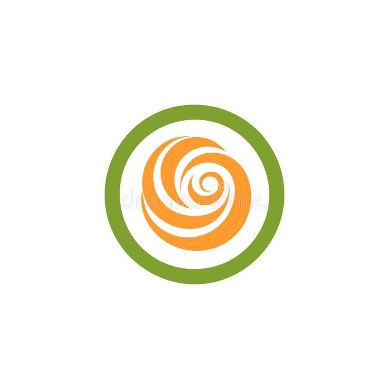 Logotipo verde e alaranjado abstrato isolado da forma redonda da cor ilustração stock