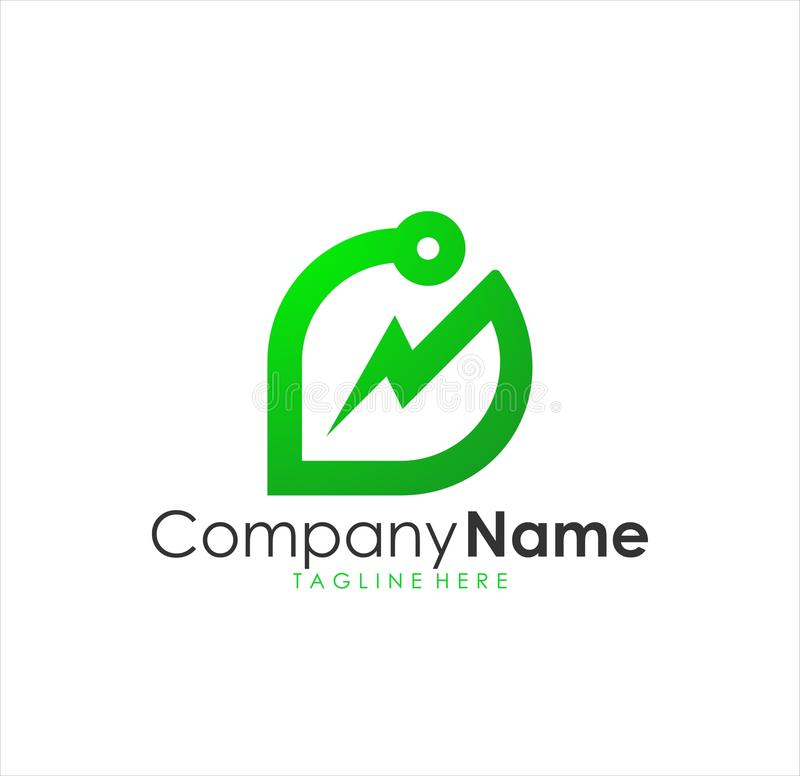 Logotipo verde moderno impressionante bonito da energia, logotipo verde moderno da energia ilustração royalty free