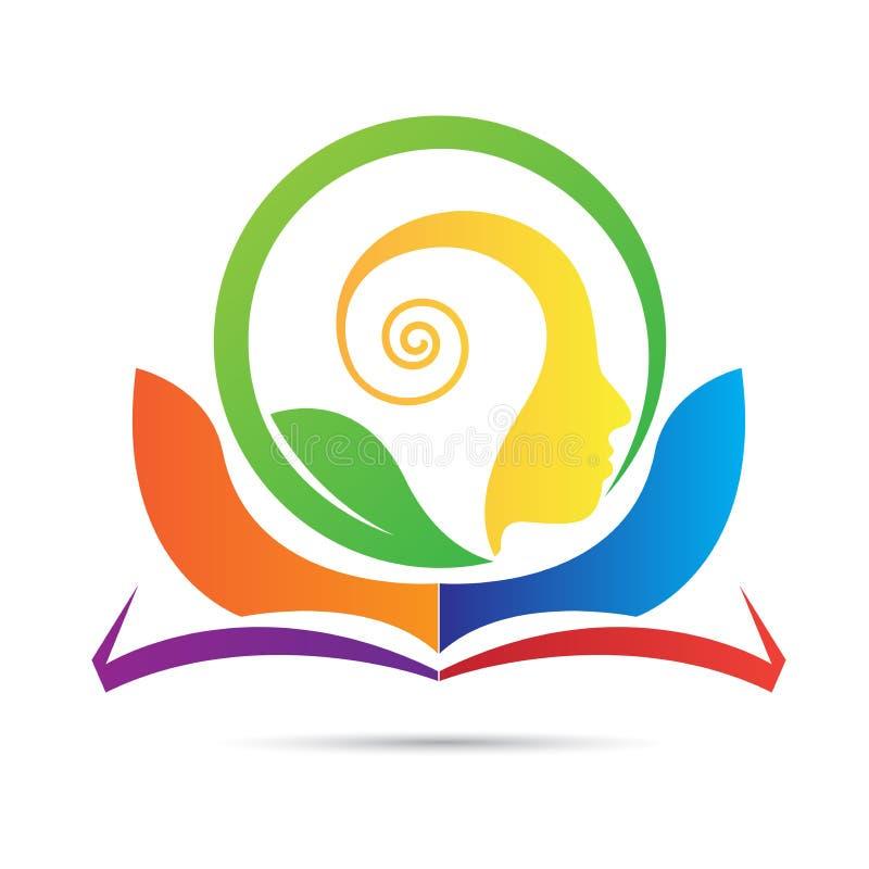 Logotipo verde positivo da mente do livro da educação ilustração do vetor