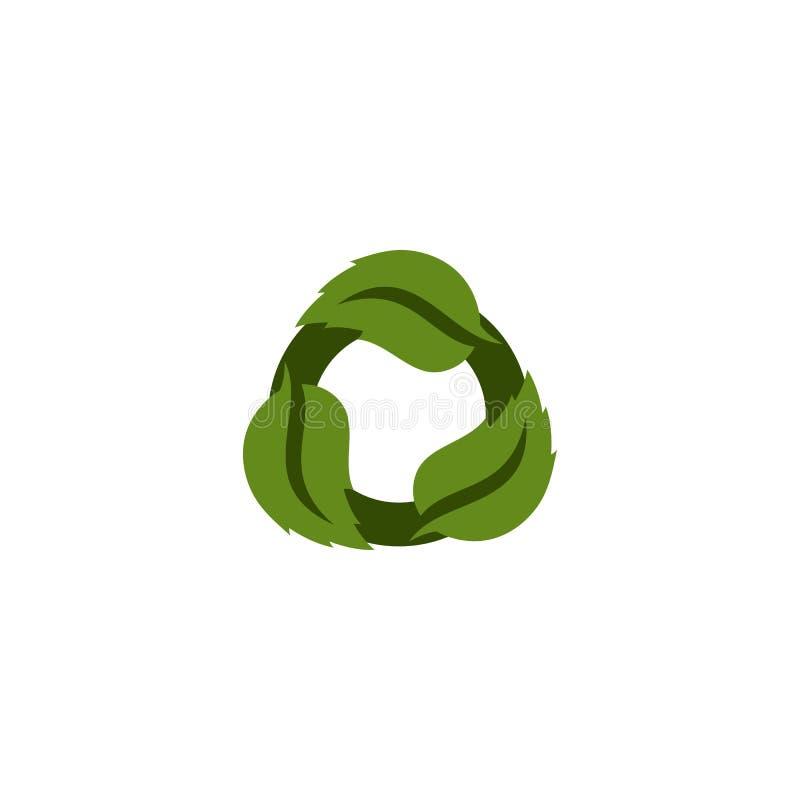 Logotipo verde renovável da folha ilustração stock
