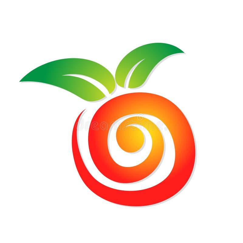 Logotipo vermelho abstrato doce da maçã com a folha verde para seu projeto, s ilustração royalty free