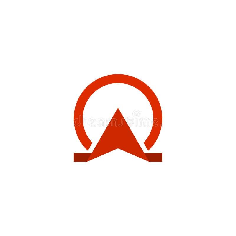 Logotipo vermelho da ômega ilustração stock