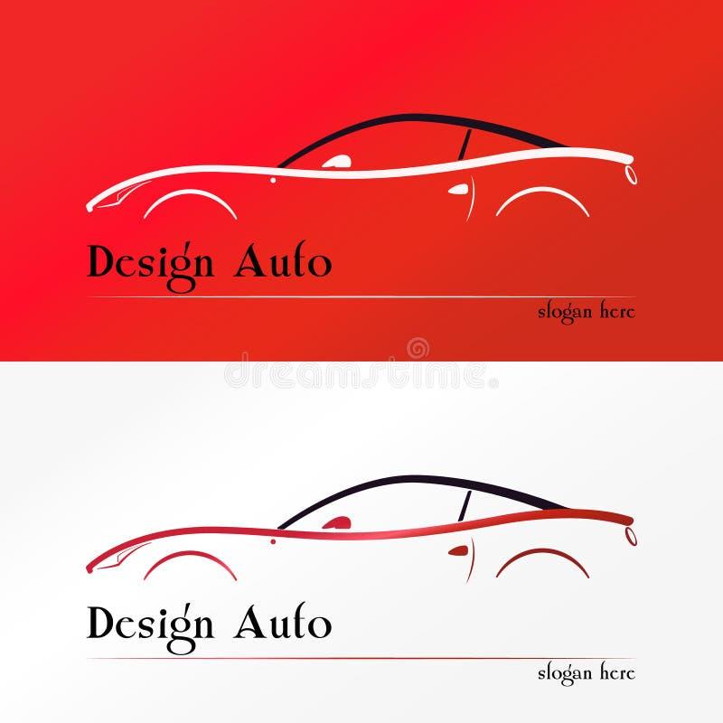 Logotipo vermelho da silhueta do carro desportivo ilustração do vetor