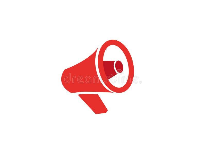 Logotipo vermelho do amplificador do megafone e do altifalante ilustração stock