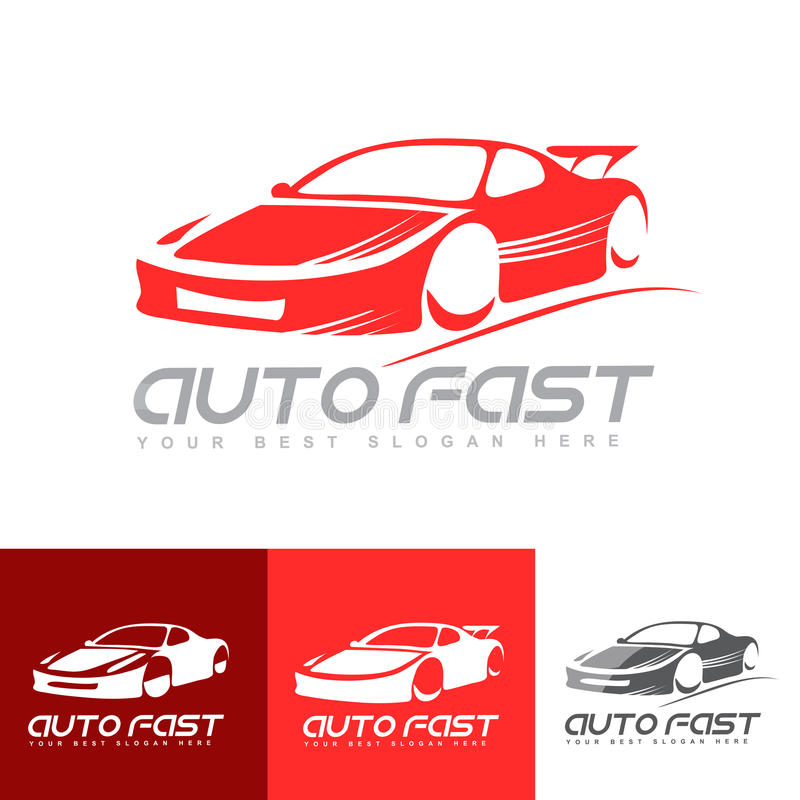 Logotipo vermelho do carro de esportes ilustração royalty free