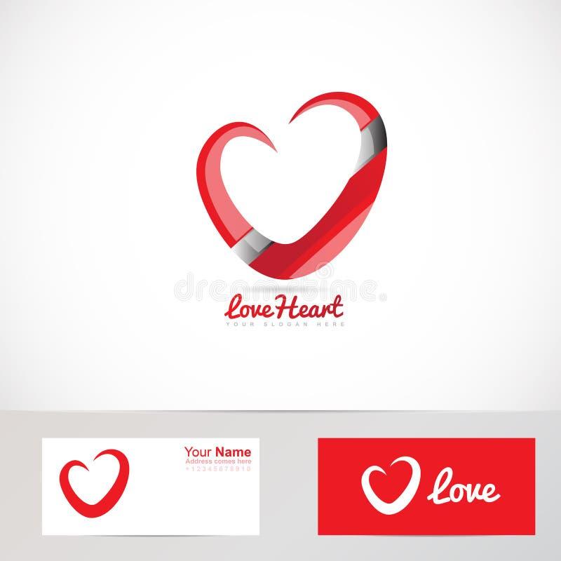 Logotipo vermelho do coração do amor ilustração stock