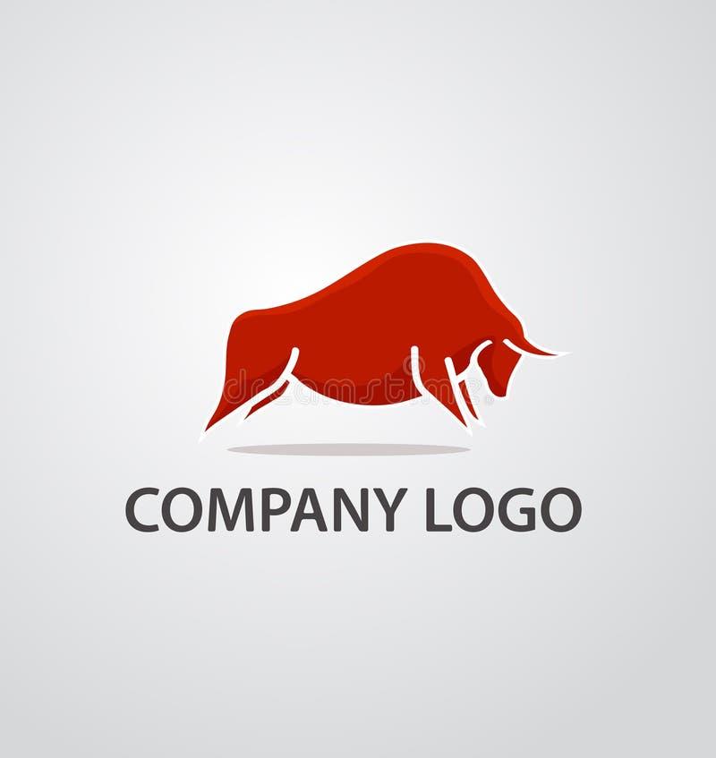 Logotipo vermelho do touro ilustração do vetor