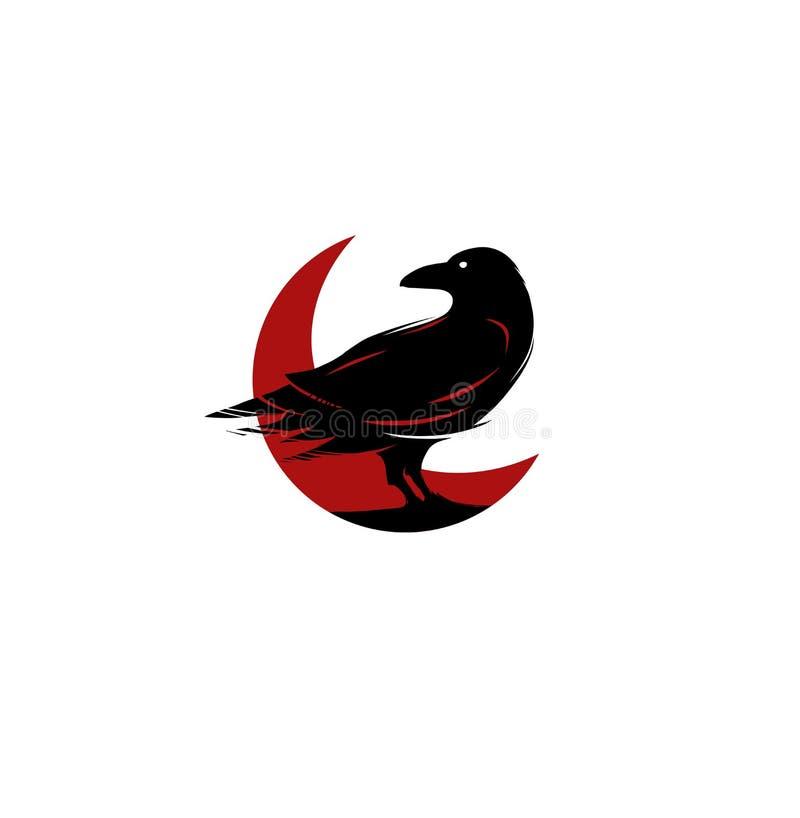Logotipo vermelho e preto do corvo ilustração royalty free