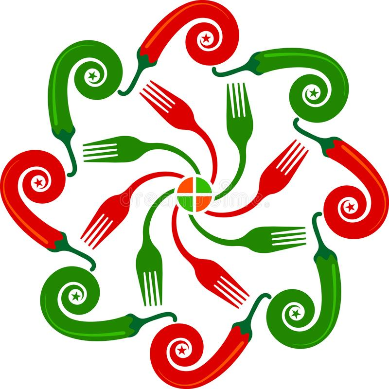 Logotipo vermelho e verde do pimentão ilustração royalty free