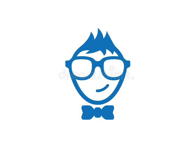 Logotipo vestindo de sorriso dos vidros e do laço da cara do totó ilustração stock
