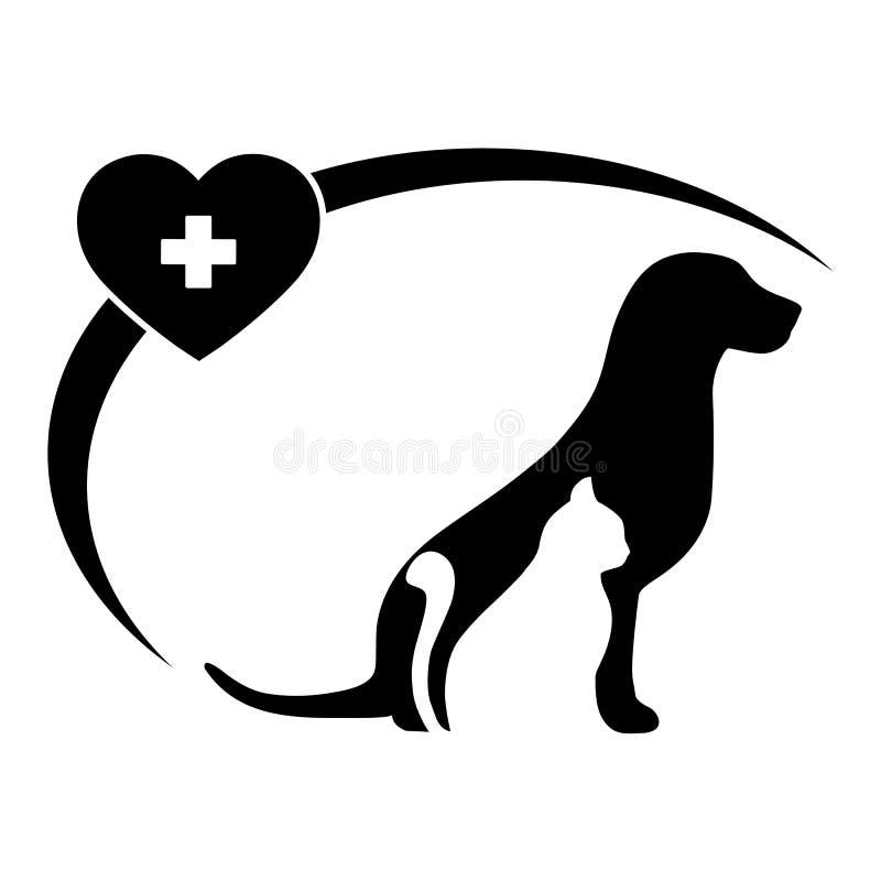 Logotipo veterinario de la clínica del ejemplo con la imagen de un gato y de un perro con un corazón y una cruz médica stock de ilustración
