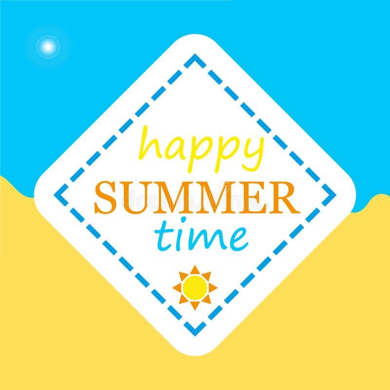 Logotipo vetorial do Happy Summer Time 2019 Modelo para a parte sazonal Tipo de letra manuscrito e padrão amarelo do vetor solar ilustração royalty free