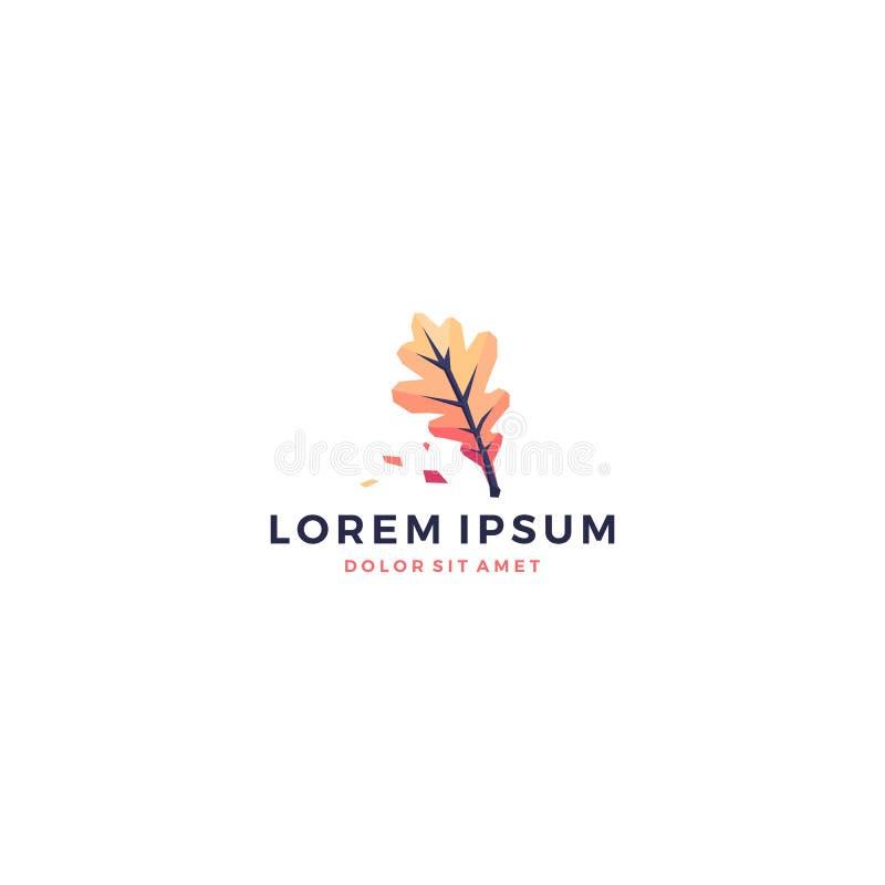 logotipo vibrante da flor do jardim do verde do ornamento do outono geométrico da folha do carvalho ilustração stock