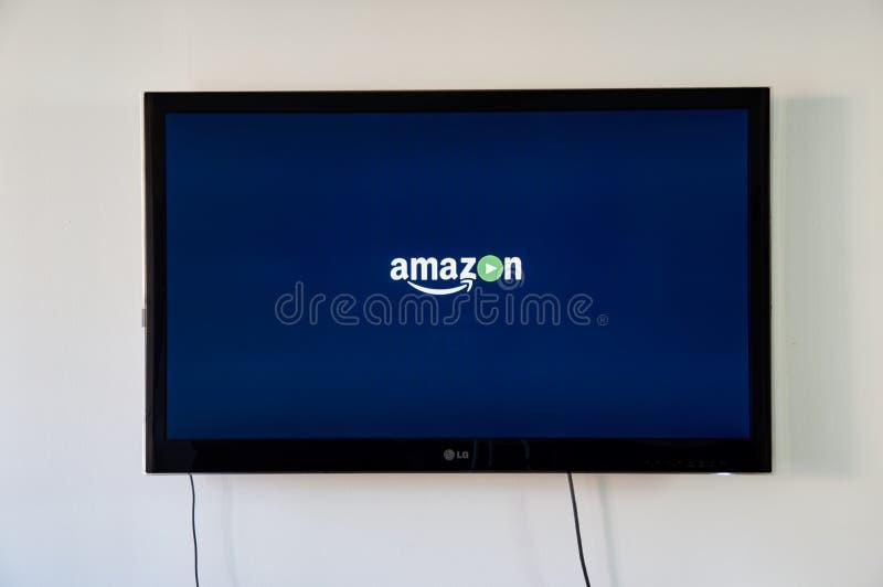 Logotipo video de la prima del Amazonas en LG TV imágenes de archivo libres de regalías