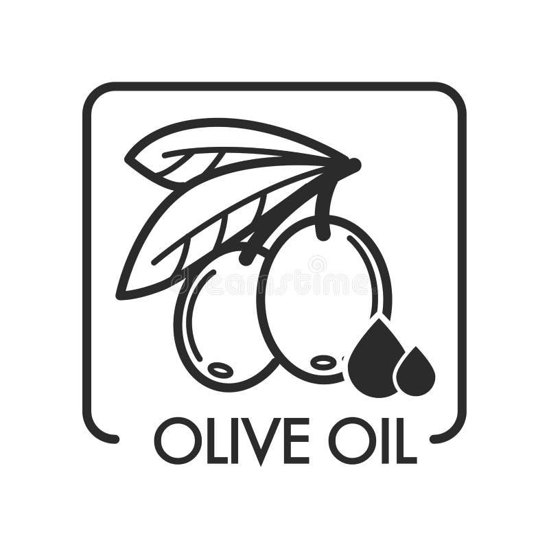 Logotipo virginal del aceite de oliva, monocromático adicional del esquema del bosquejo stock de ilustración