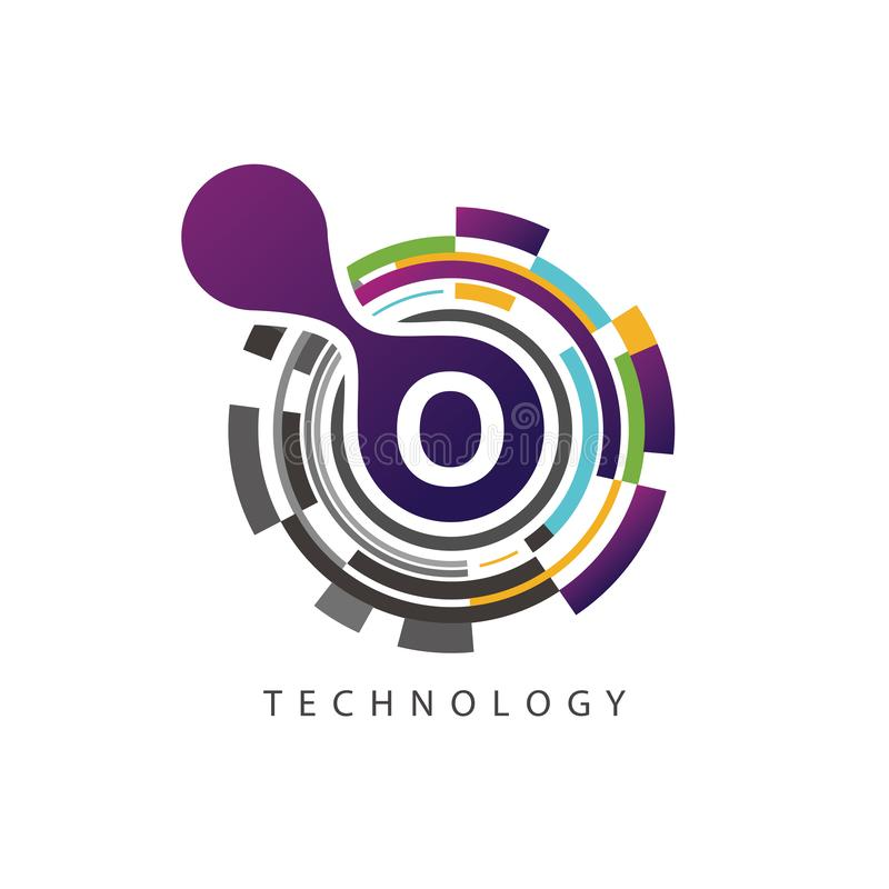 Logotipo visual de la letra del techno O del pixel stock de ilustración