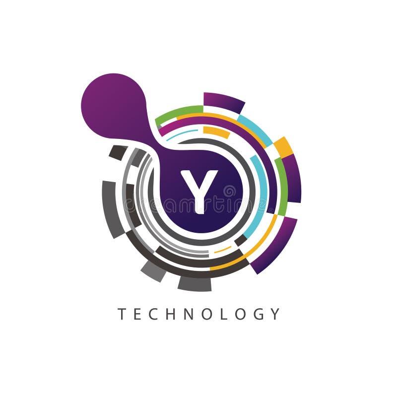 Logotipo visual de la letra del techno Y del pixel stock de ilustración
