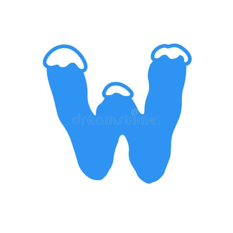 Logotipo W da letra da neve do vetor foto de stock