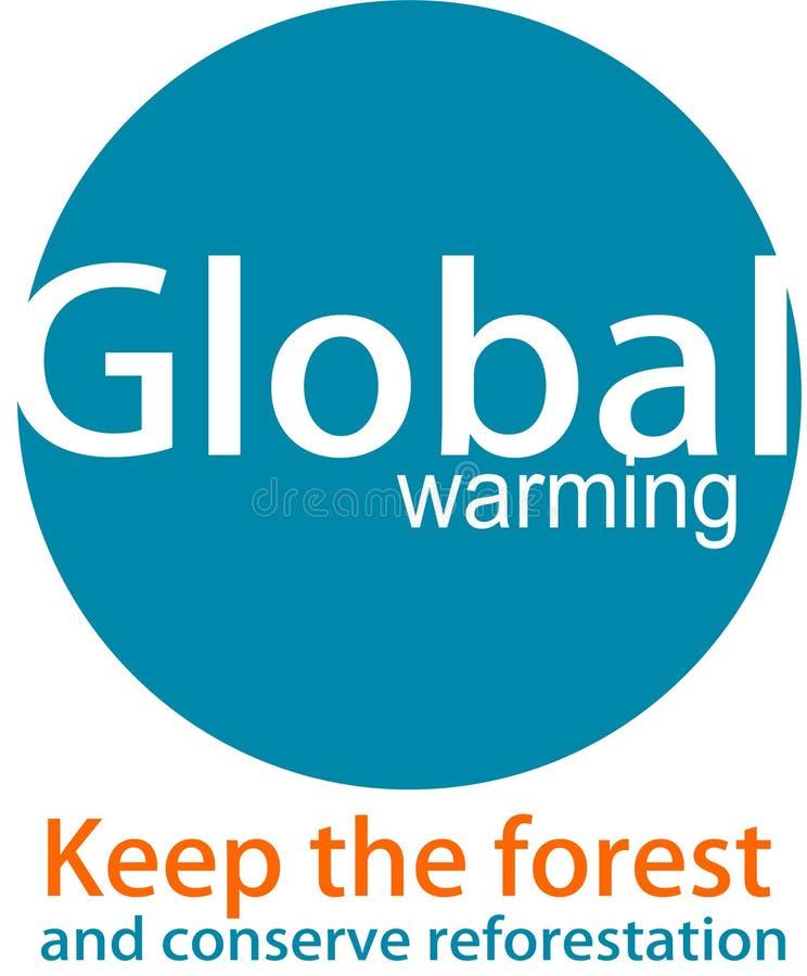 Logotipo y desaign del calentamiento del planeta stock de ilustración