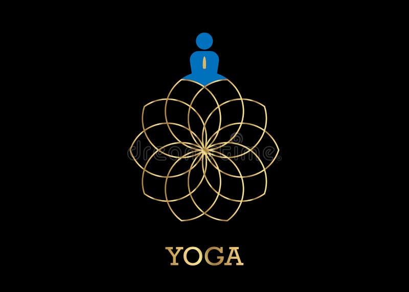 Logotipo y oro Lotus Flower del estudio de la yoga de la gente Simbolice el icono, el hombre en icono de la actitud del loto y la stock de ilustración
