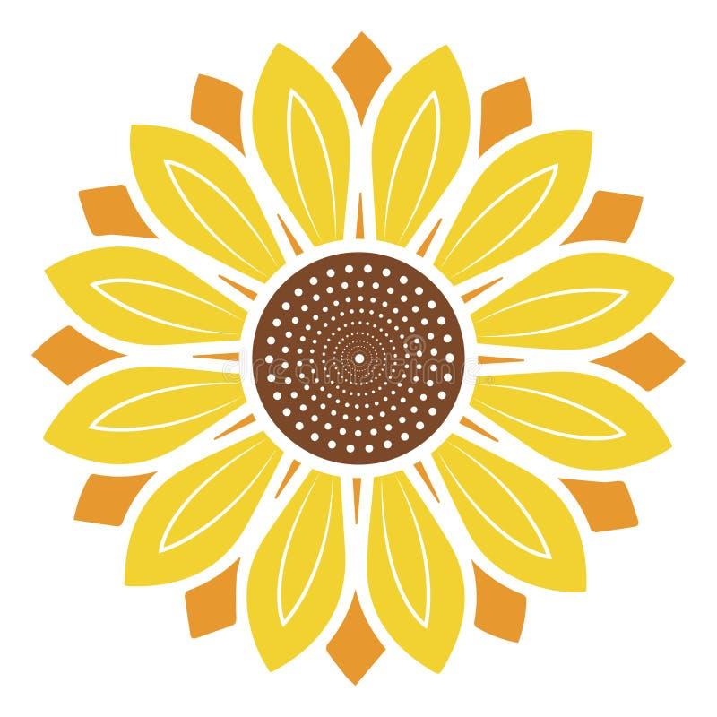 Logotipo y símbolo del ejemplo del vector del girasol en estilo plano imágenes de archivo libres de regalías
