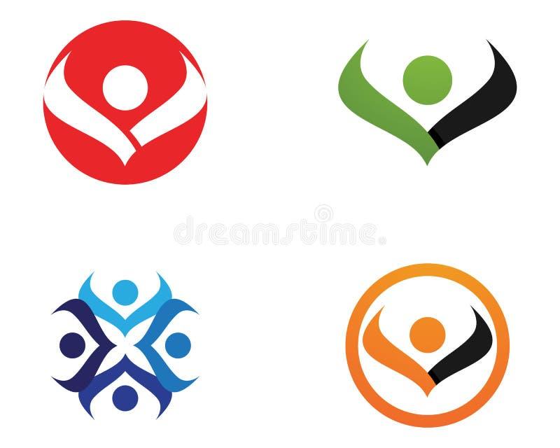Logotipo y símbolos de la salud de la gente del cuidado v stock de ilustración