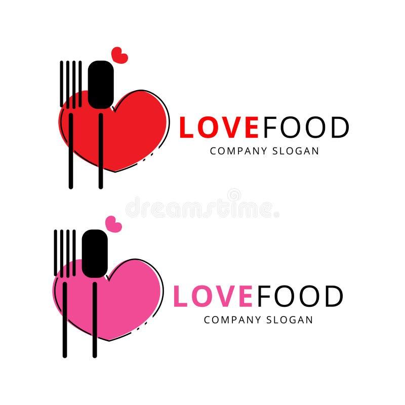 Logotipo y vector de la comida del amor libre illustration