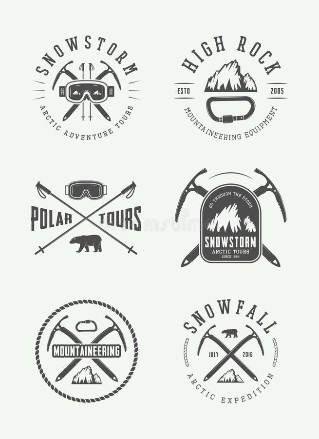 Logotipos árticos do alpinismo do vintage, crachás, emblemas ilustração royalty free