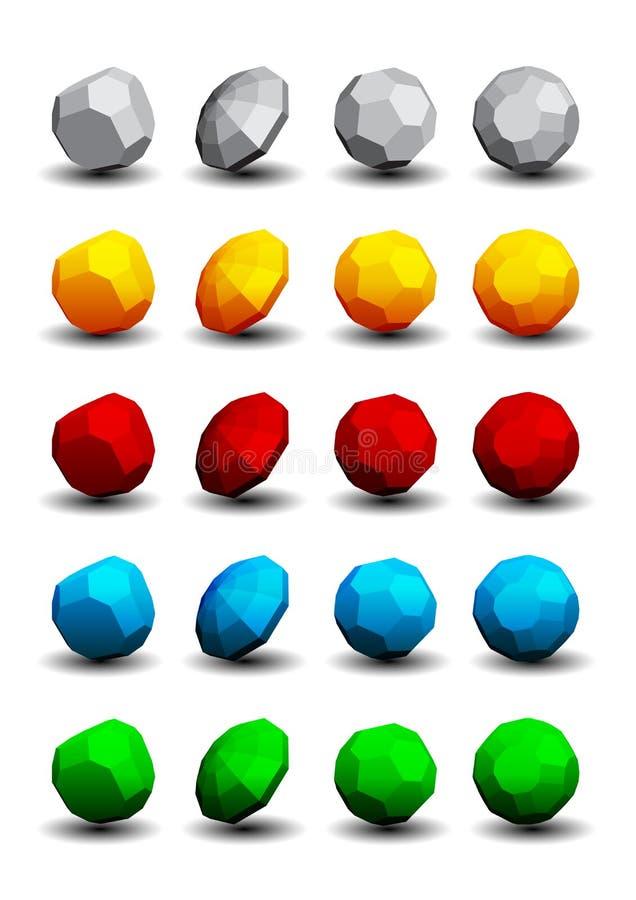 Download Logotipos 3D ajustados ilustração do vetor. Ilustração de caixa - 26520538