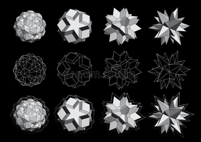 Download Logotipos 3D ajustados ilustração do vetor. Ilustração de ilustração - 26520587