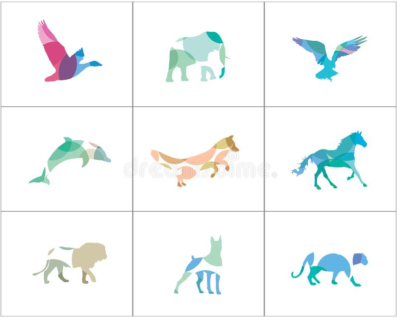 Logotipos animales coloridos y abstractos fijados El león, perro, caballo, pescado vector iconos, la tienda del pájaro y de anima ilustración del vector