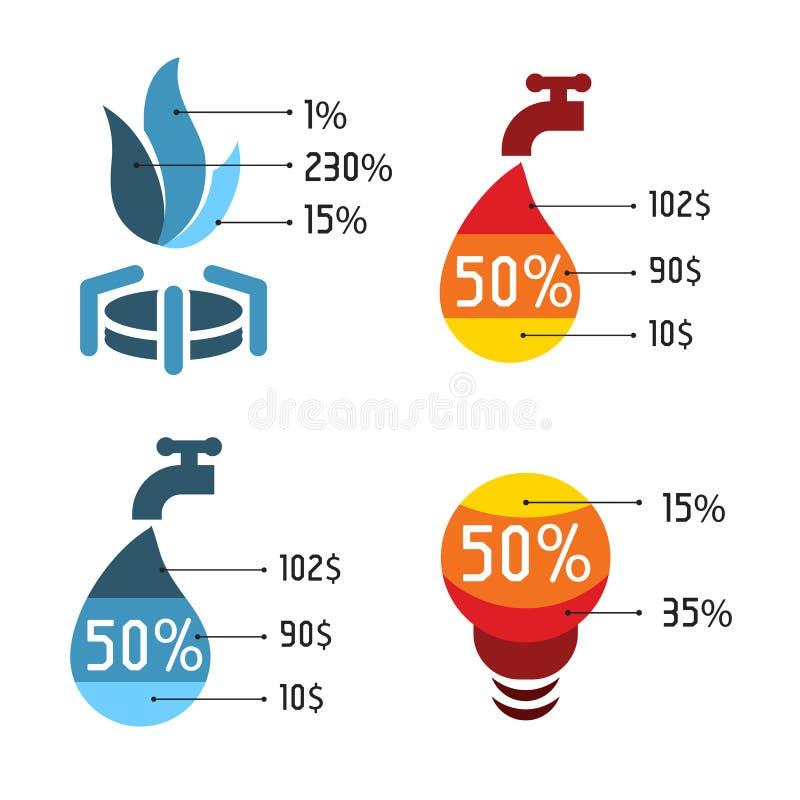 Logotipos azuis e vermelhos abstratos isolados do vetor ajustados Ícones dos serviços das utilidades ilustração do vetor