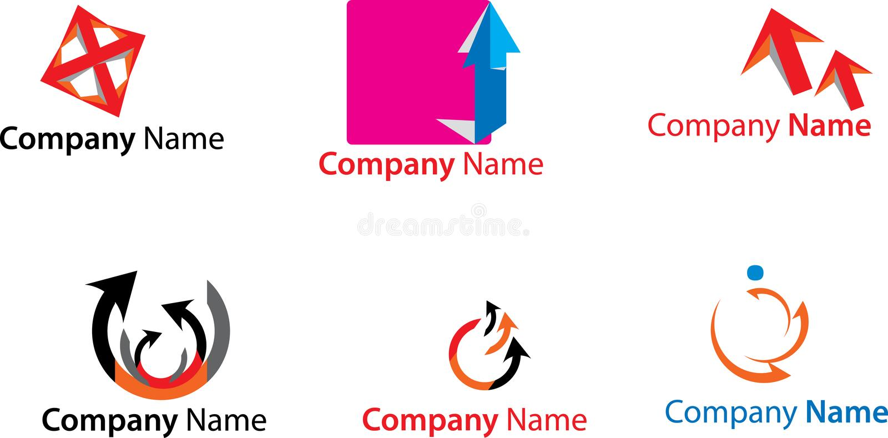 Logotipos coloridos ilustração royalty free