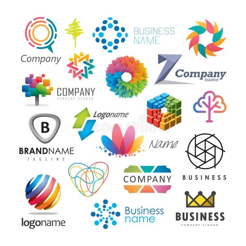 Logotipos coloridos do negócio ilustração do vetor