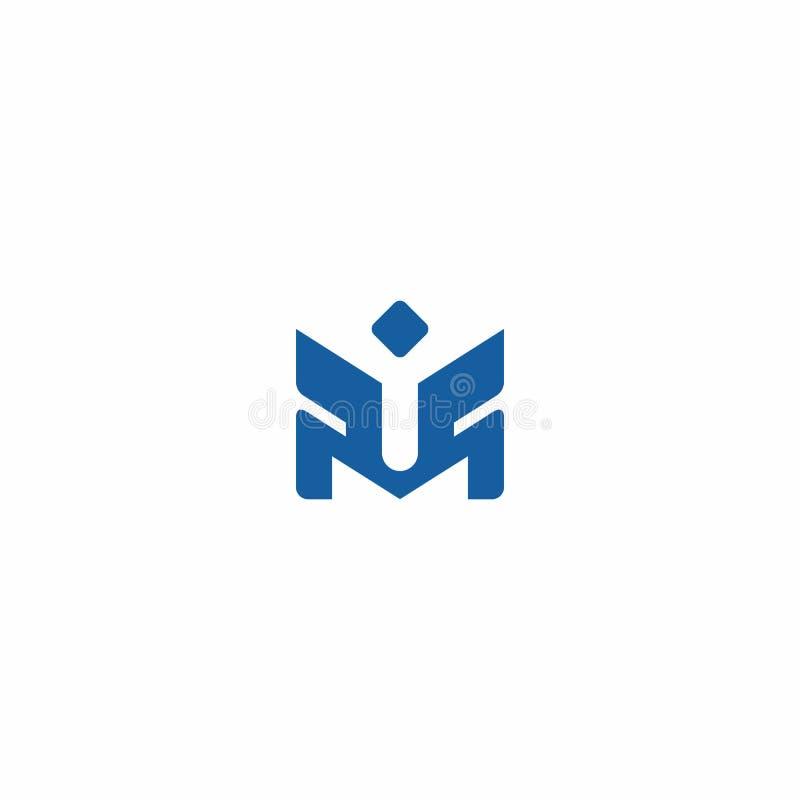 Logotipos creativos cons alas y profesionales de la letra de M stock de ilustración