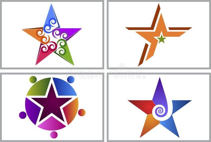 Logotipos da coleção da estrela do redemoinho ilustração do vetor