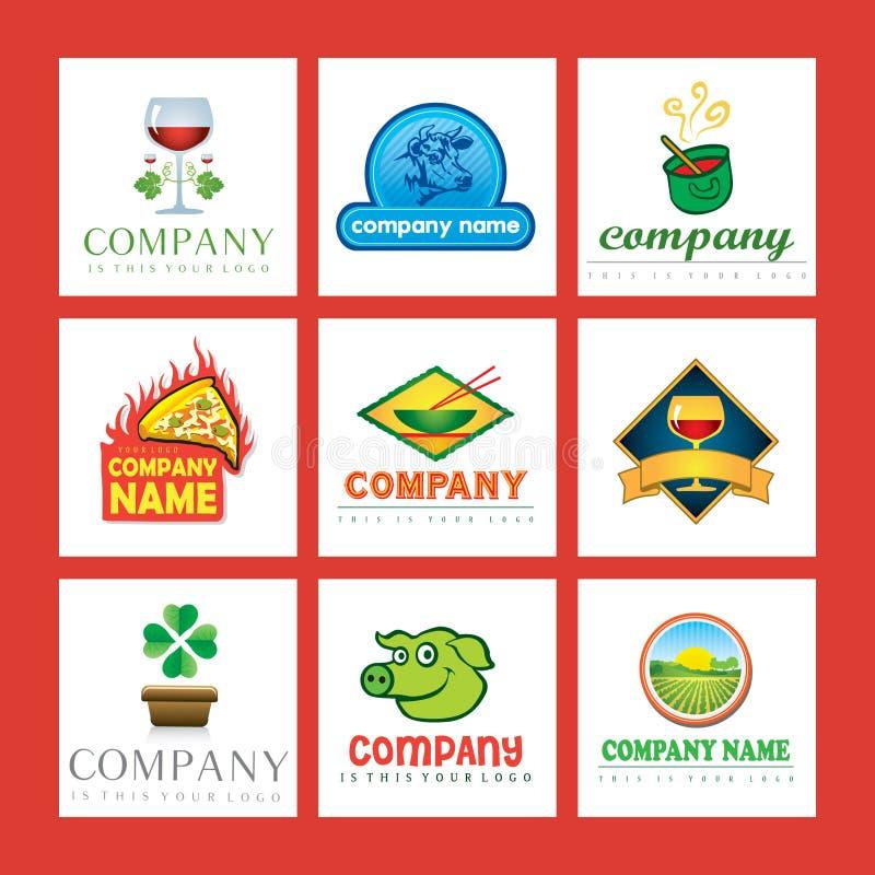 Logotipos da companhia de alimento ilustração do vetor