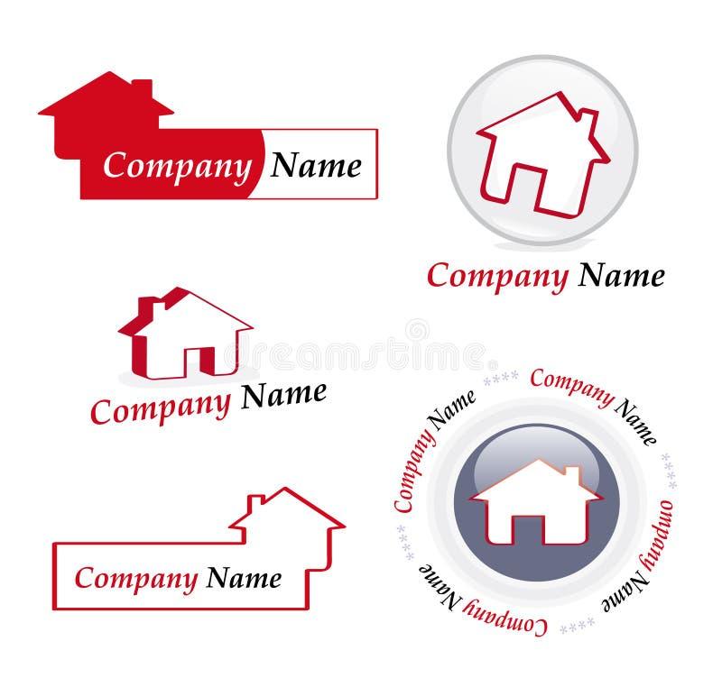 Logotipos da companhia de bens imobiliários ilustração royalty free