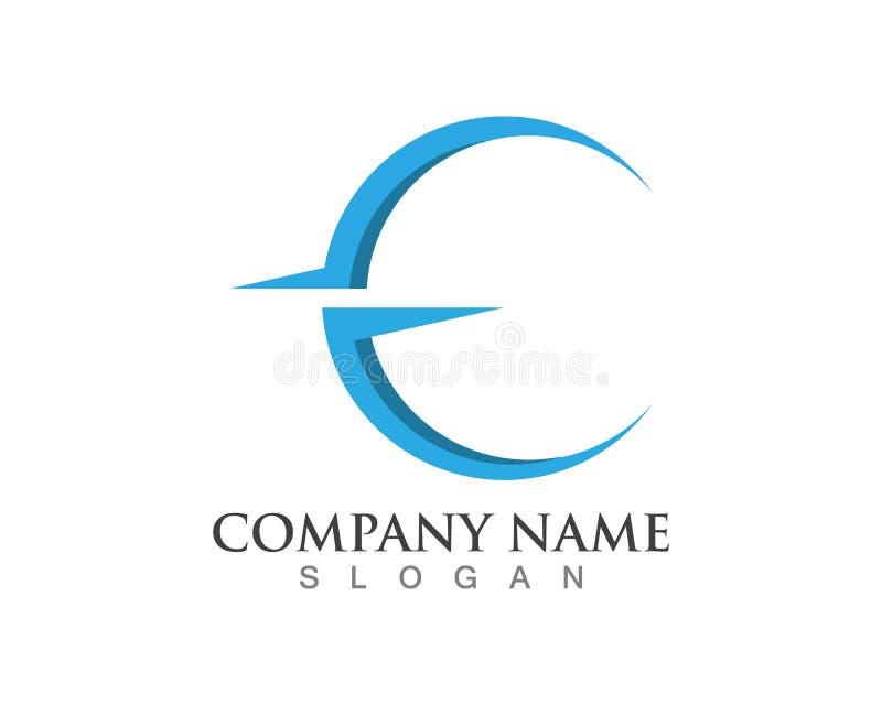 Logotipos da letra da seta e do E ilustração stock