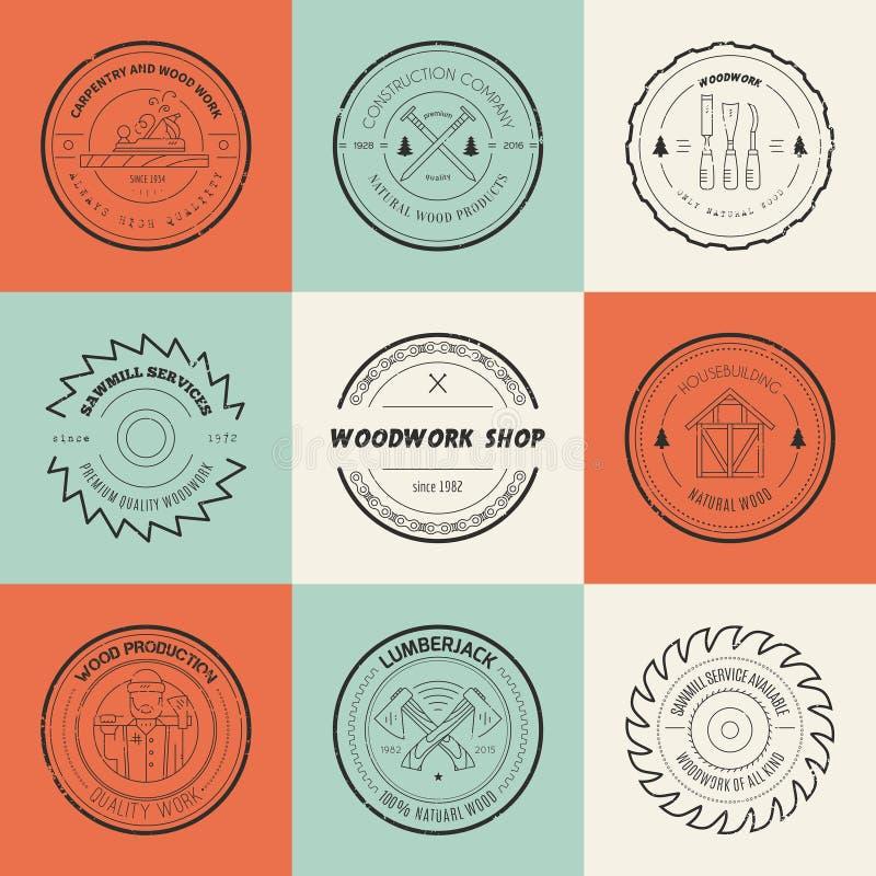 Logotipos da madeira ilustração do vetor
