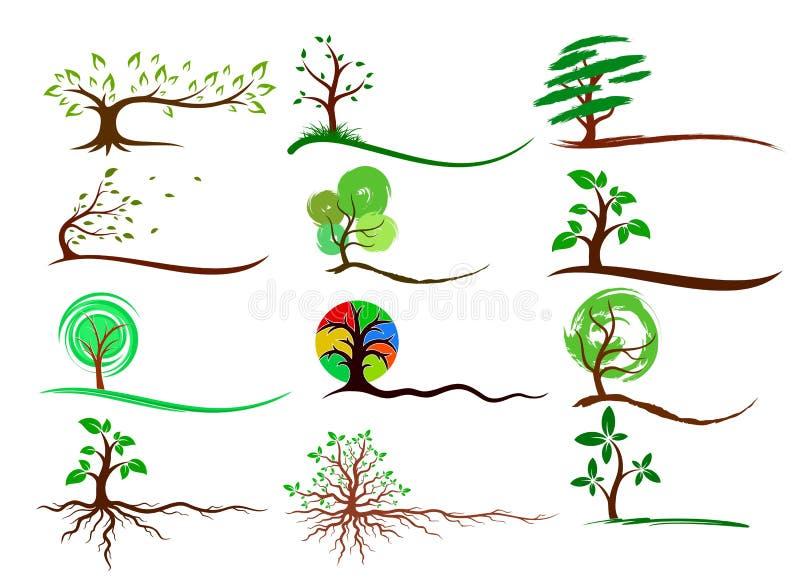 Logotipos das árvores ilustração royalty free