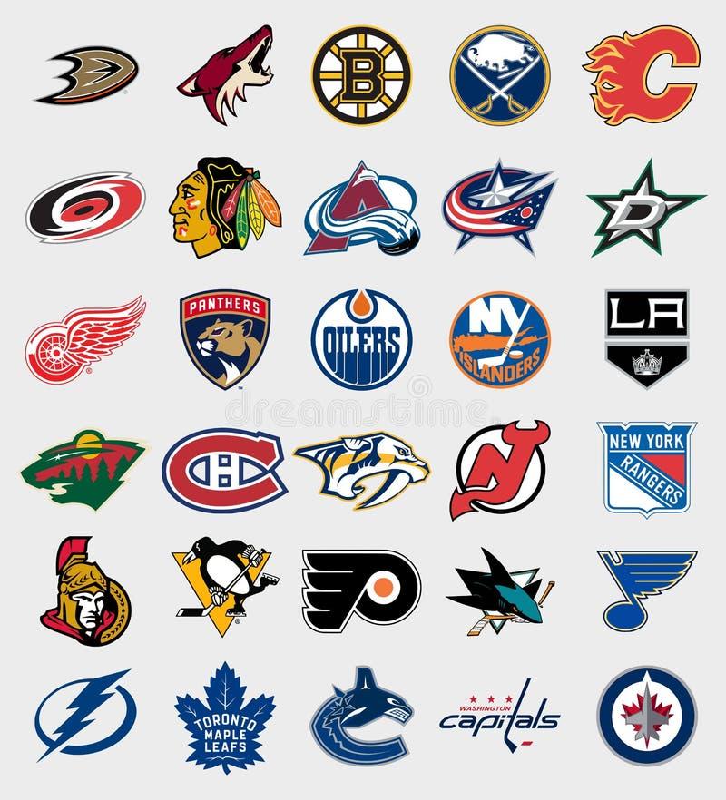 Logotipos das equipes de NHL ilustração do vetor