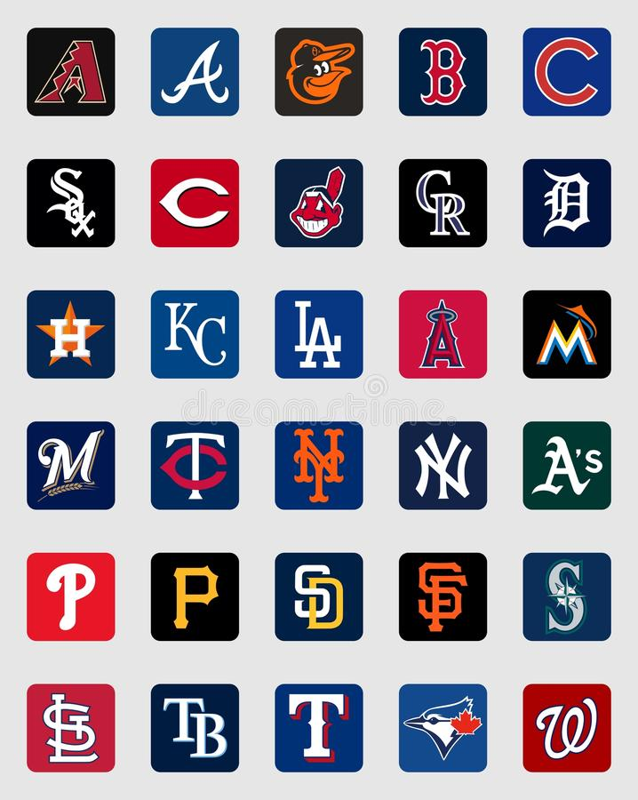 Logotipos das insígnias do tampão de Major League Baseball ilustração stock