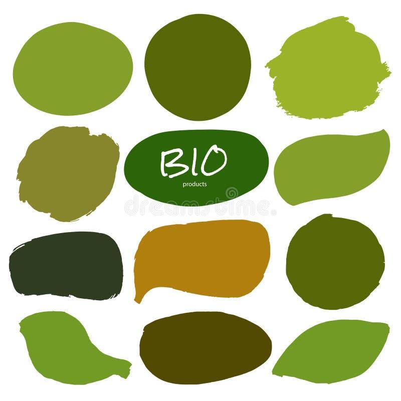 Logotipos de Eco, orgânicos, bio ou sinais Vegetariano, crachás crus, saudáveis do alimento ilustração stock